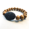 Wood with Oval Lava Diffuser Bracelet