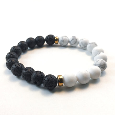 Howlite and Lava Diffuser Bracelet with Gold Accents