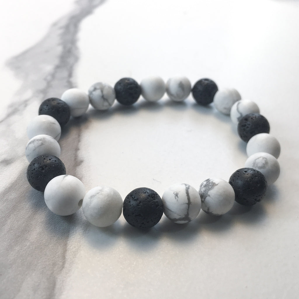 Howlite and Lava Diffuser Bracelet
