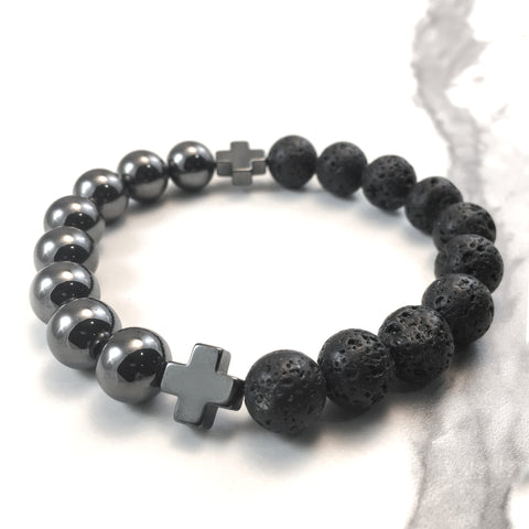 Hematite Cross and Lava Diffuser Bracelet