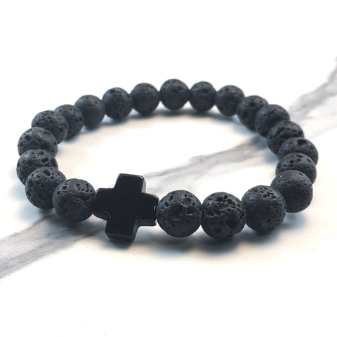 Onyx Cross and Lava Diffuser Bracelet