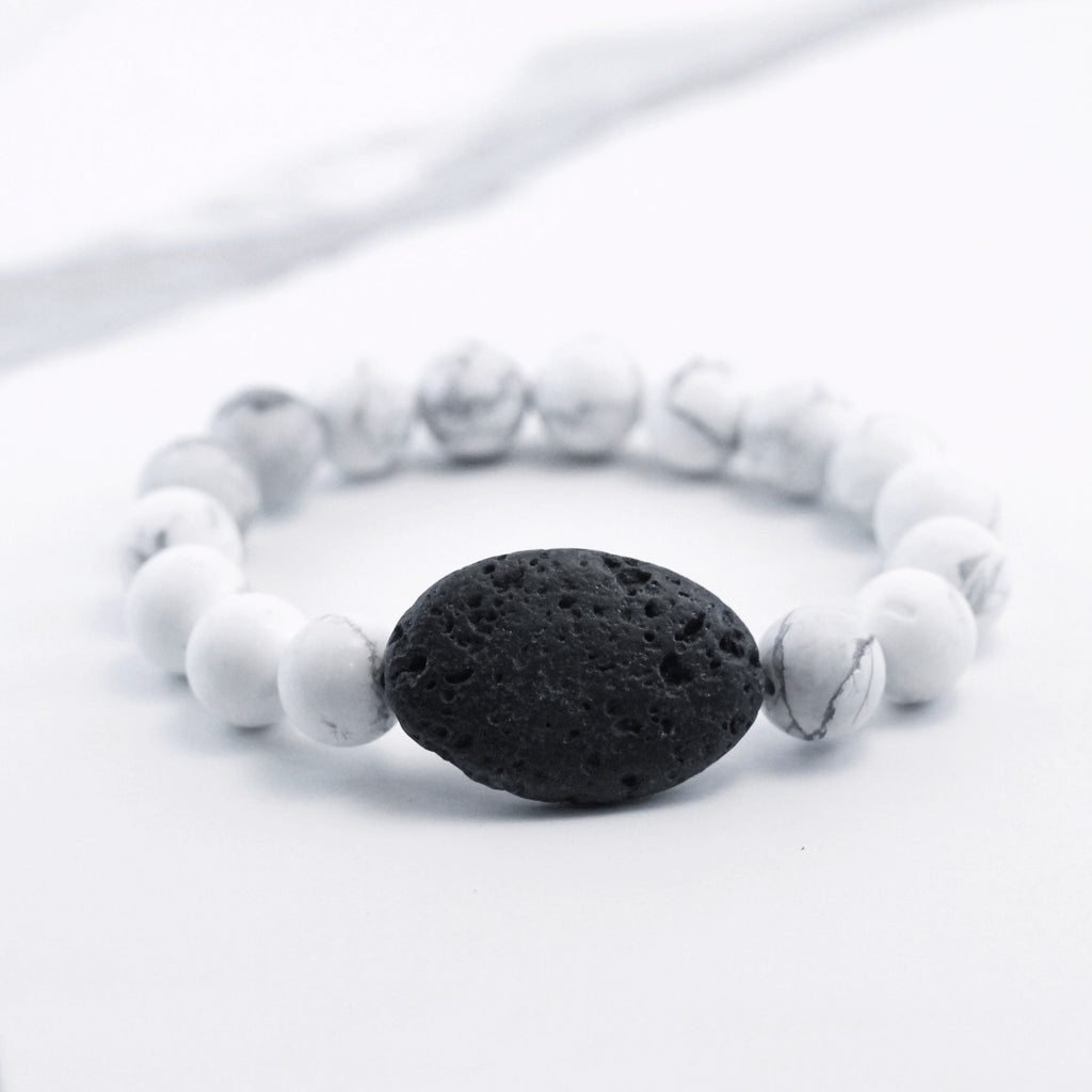White Howlite and Oval Lava Diffuser Bracelet