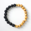 Wood and Lava Diffuser Bracelet with Gold
