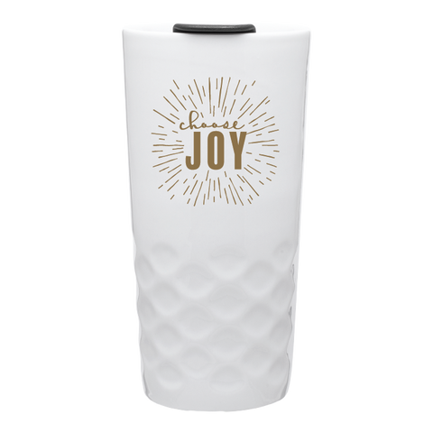 """Choose Joy"" Ceramic Tumbler- Wht."