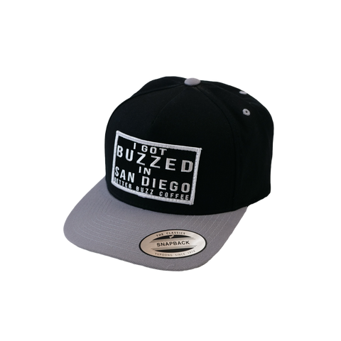 'I Got Buzzed in SD' Hat - Black/Grey Snapback - Better Buzz Coffee