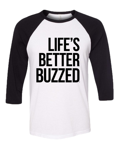 Black and White LBB Raglan - Better Buzz Coffee
