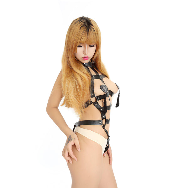 Strappy Cage Teddy - PVC Vegan Leather Body Harness with Collar-FETW-The Love Zone