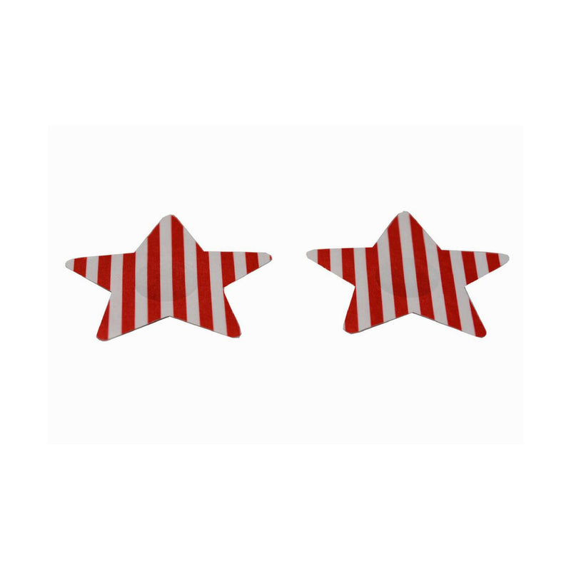 Pasties Red and White Striped Star Nipple Covers 5 Pair-Nipple Covers-The Love Zone