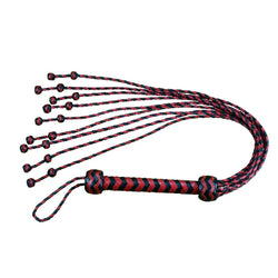 "Whip - Leather 32"" Braided Cat o' Nine Tails with Ball End Knots Red & Black Flogger-Fetish/Bondage-The Love Zone"