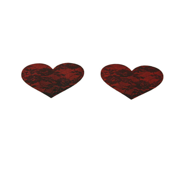 Pasties Red Heart with Black Lace Overlay Nipple Covers 5 Pair-Nipple Covers-The Love Zone