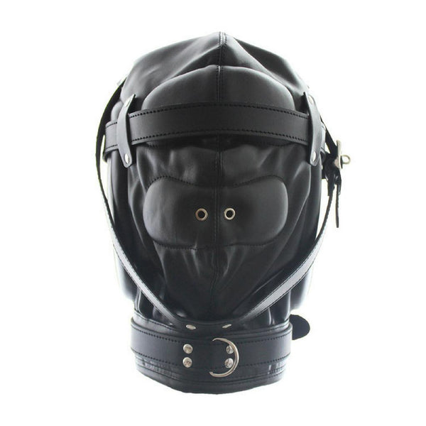 Hood Mask - Padded Locking Hood PU Deprivation Mask-Fetish/Bondage-The Love Zone