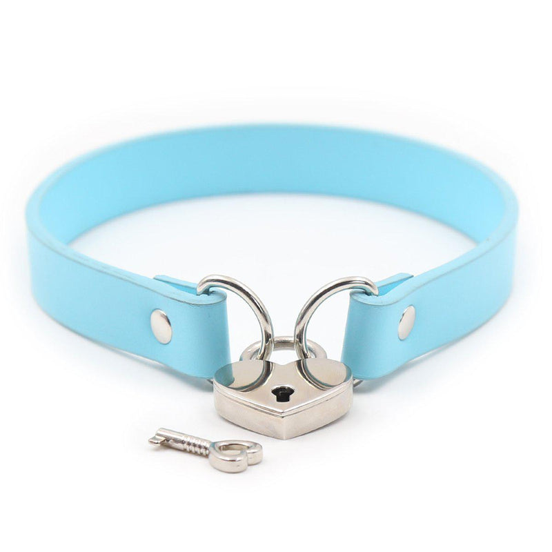Slave Collar Aqua Collar w/ Heart Lock Connector-Fetish Stuff-The Love Zone