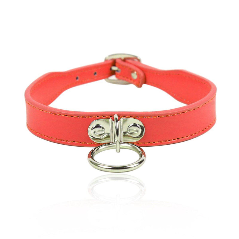Collar - Red with D Ring-FET-The Love Zone