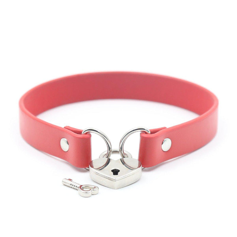Collar - Lock Connector Red Neck Collar with Key-FET-The Love Zone