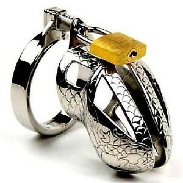 Chastity Cage - Men's Short Stainless Steel Snake Etching Chastity Cage