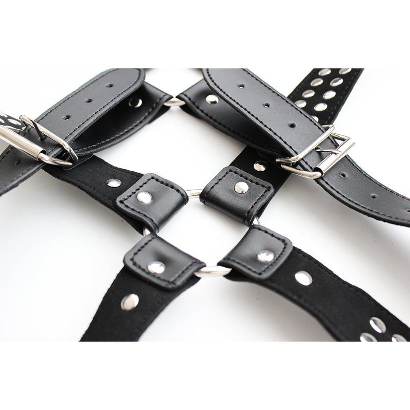 Chest Harness - Halford Style Studded X-Cross PVC Vegan Leather-Fetish/Bondage-The Love Zone