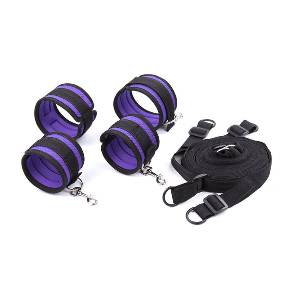 Bondage Kit - Neoprene Bed Cuff Kit Purple