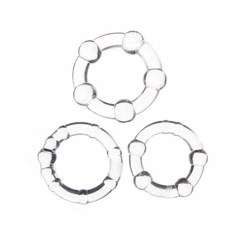 Cock Ring - Clear Beaded 3 pack-TRING-The Love Zone