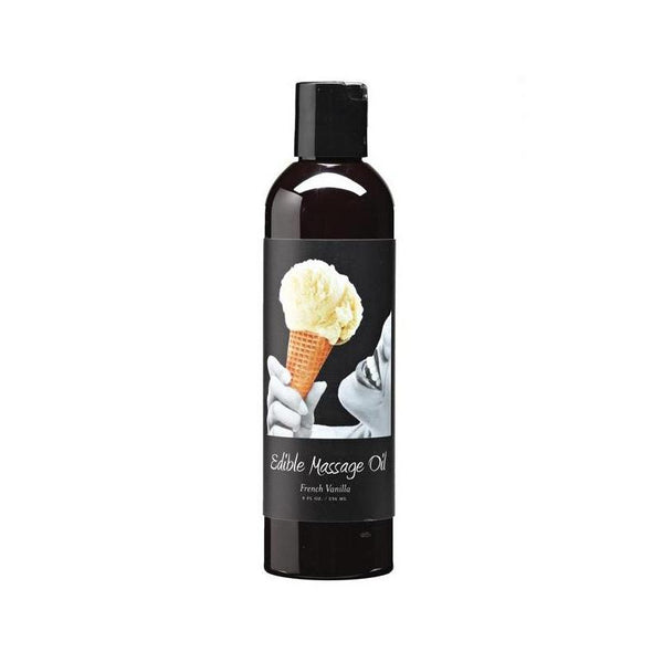 Massage - Earthly Body Hemp Edible Massage Oil - 8 oz French Vanilla-Games & Massage-The Love Zone