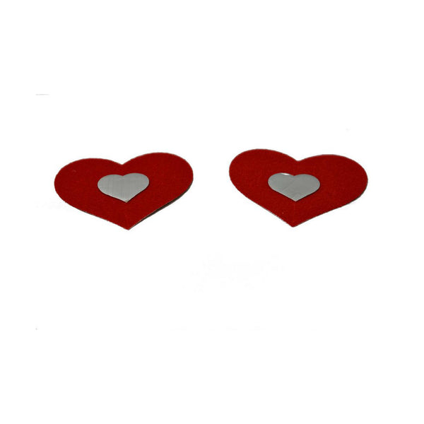 Pasties Red and Silver Heart Nipple Covers 5 pair-Nipple Covers-The Love Zone