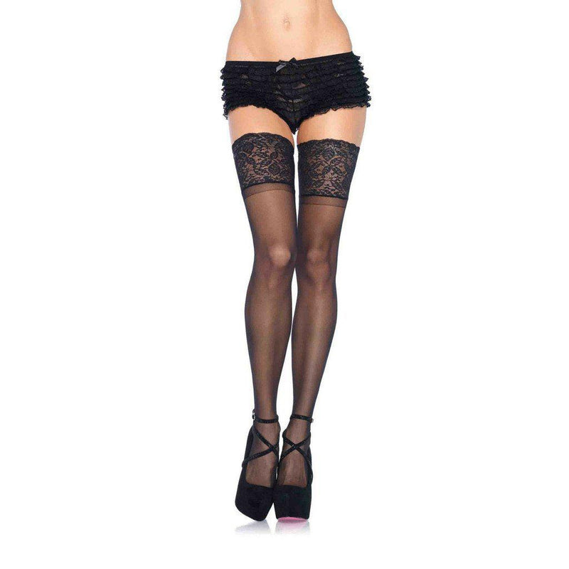 Stockings - Stay Up Thigh High Black Stockings - Long Lace Thigh Style-STOCK-The Love Zone