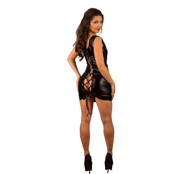 Wet Look lace up back Mini Dress