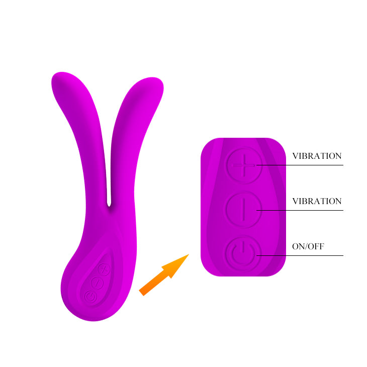 Split Vibrator 12 X rechargable Silicone-TVIB-The Love Zone