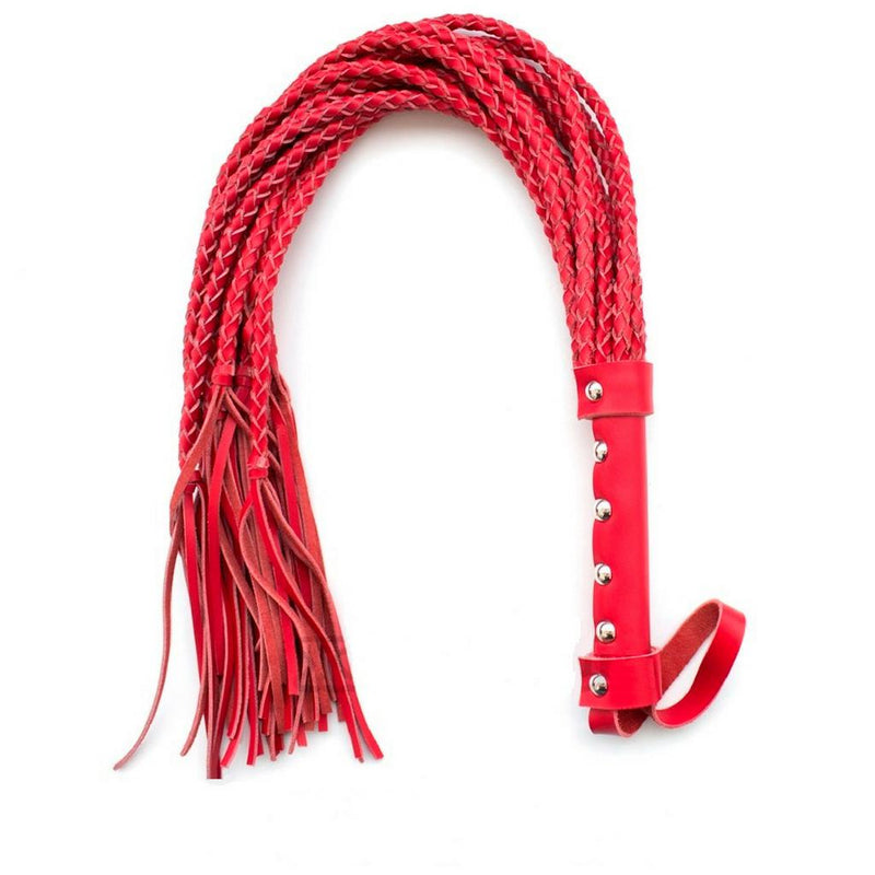 "Whip - Leather 21.5"" Braided Cat o' Nine Tails Red Flogger-Fetish/Bondage-The Love Zone"