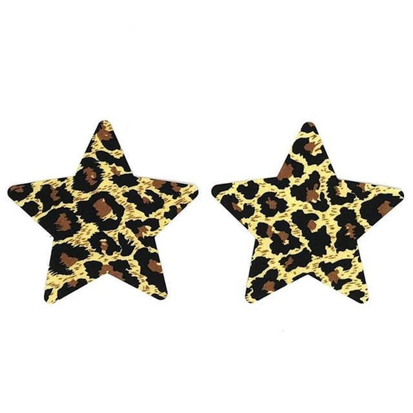 Pasties Leopard Star 5Pk Nipple covers-Wigs, purses-The Love Zone