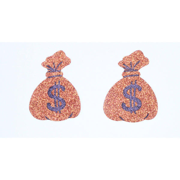 Pasties Money Bags Glitter Nipple Cover Pasties 5pk-Wigs, purses-The Love Zone