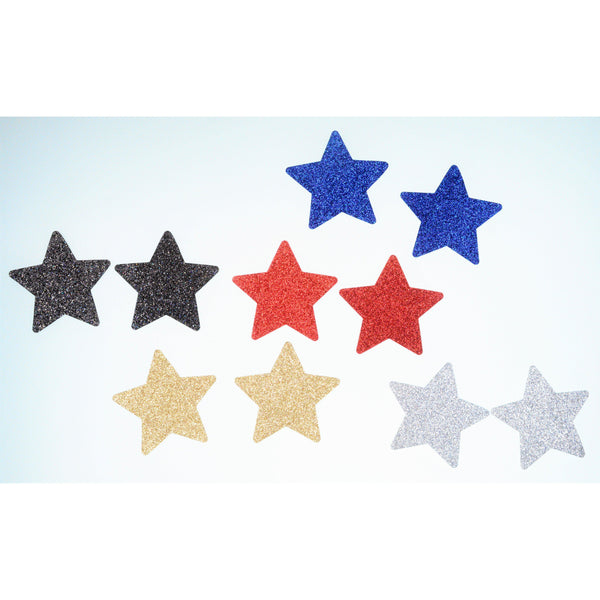 Pasties Glitter Stars Assorted colors 5 pair pack Nipple Covers-Wigs, purses-The Love Zone