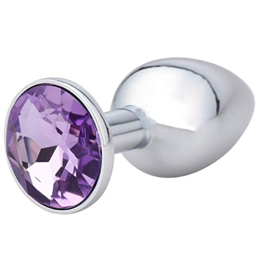Butt Plug - Metal Gem Anal Plug - Amethyst (Light Purple)-Anal-The Love Zone