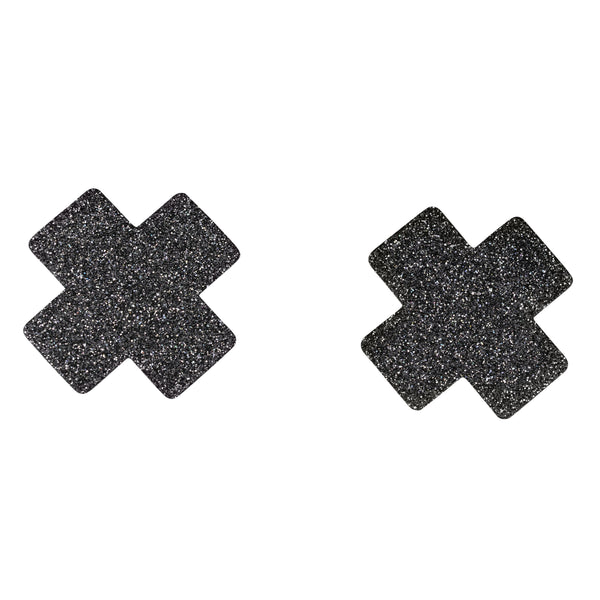 Sm Glitter Cross Pasties 5pk Nipple covers Black-ACCES-The Love Zone