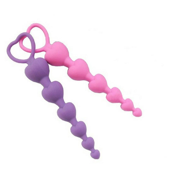 Anal Beads - Heart Shaped Anal Beads Purple-The Love Zone