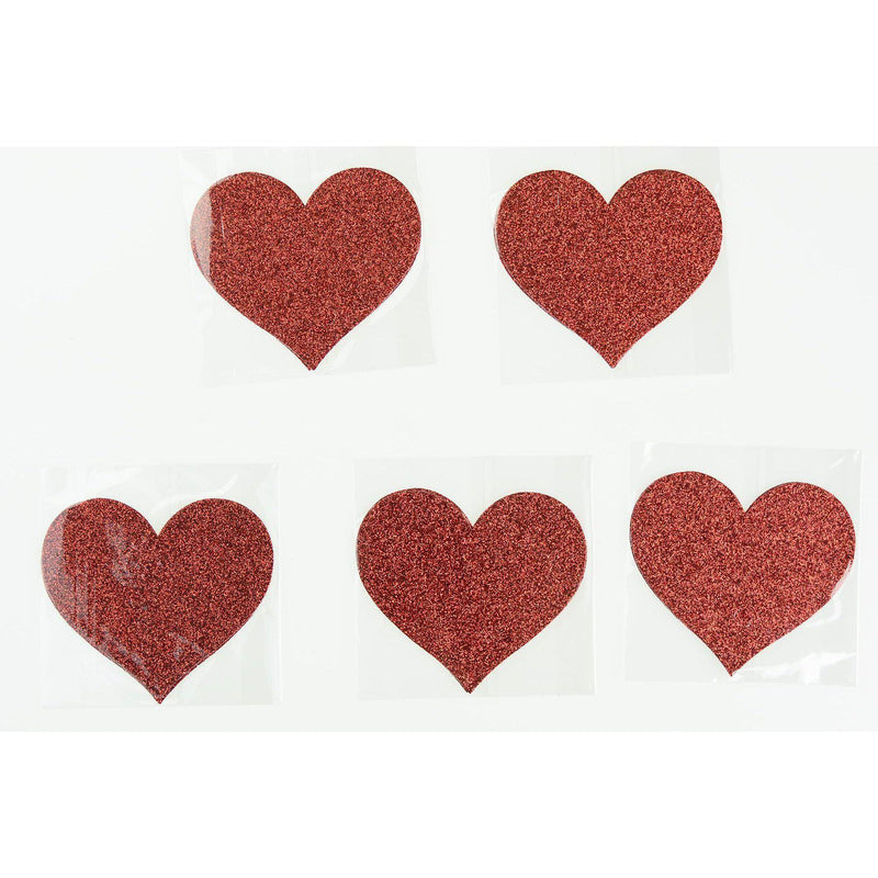 Glitter Heart Pasties 5pk Nipple covers Red-ACCES-The Love Zone