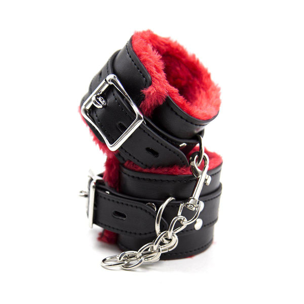 Cuff Wrist - Black PU with Red Faux Fur Lining Bondage Cuff-FBOND-The Love Zone