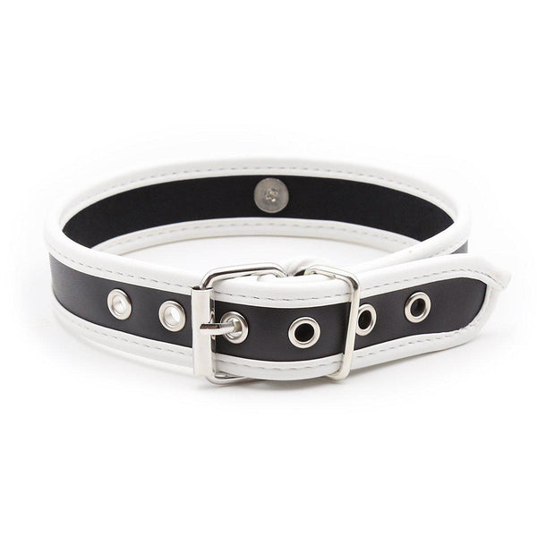 Collar - Heavy Duty Black PVC Collar with White Piping-FET-The Love Zone
