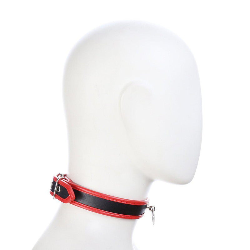 Collar - Heavy Duty Black PVC Collar with Red Piping-FET-The Love Zone