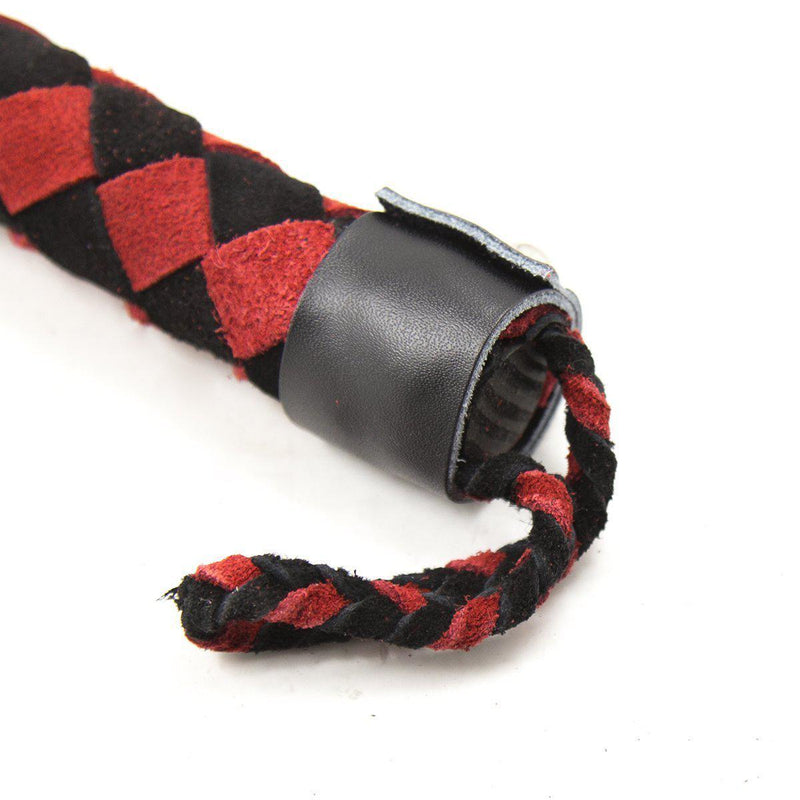 "Whip - Leather 15.5"" Black with Red & Black Handle Flogger-FET-The Love Zone"