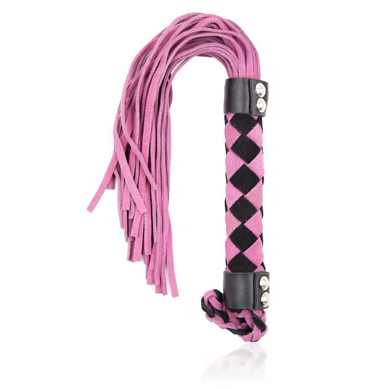 "Whip - Leather 15.5"" Pink Flogger-FET-The Love Zone"