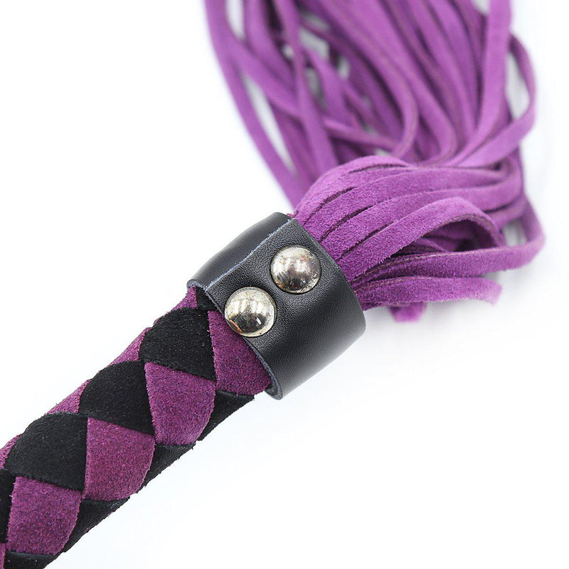 "Whip - Leather 15.5"" Purple Flogger-FET-The Love Zone"