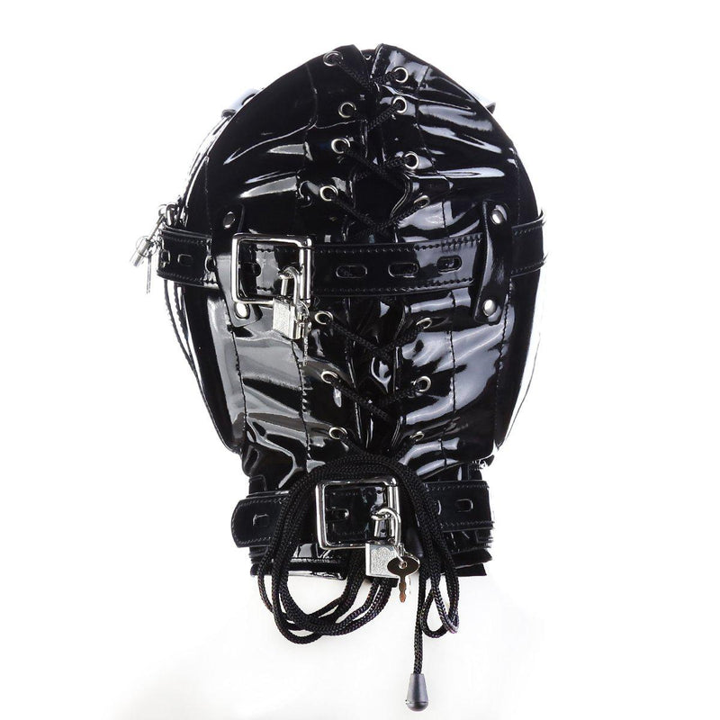 Hood Mask - Shiny Pleather Lace-Up Locking Hood Deprivation Mask with 1 Nose Hole-Fetish/Bondage-The Love Zone