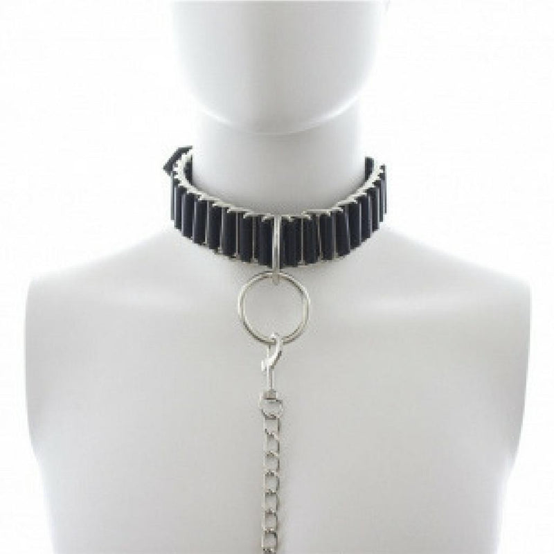 Collar - Black PVC and Metal Link Slave Collar-FBOND-The Love Zone