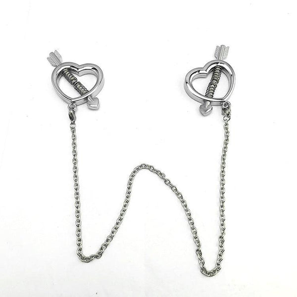 Nipple Clamps - Heart Spring Pressure Nipple Clamps-Fetish Stuff-The Love Zone