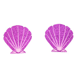 Pasties Glitter Seashells Purple Nipple Covers 5 Pair-ACCES-The Love Zone