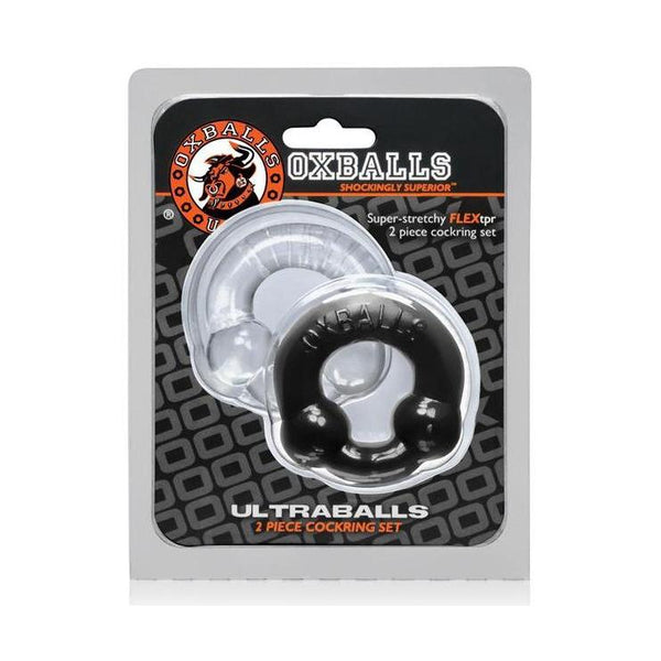 Cock Ring - Oxballs Ultraballs Cock Rings - Black/Clear Pack of 2-The Love Zone