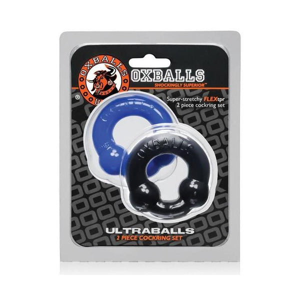 Cock Ring Penis Sling - Oxballs Ultraballs - Black/Police Blue Pack of 2-The Love Zone