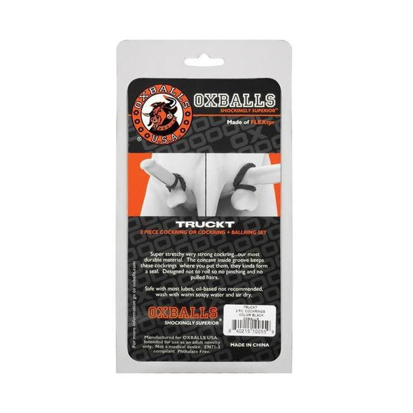 Cock Ring - Oxballs TruckT Cock & Ball Ring - Black Pack of 2-The Love Zone