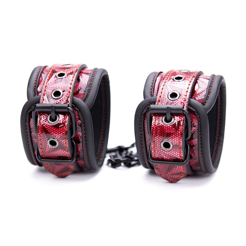 Ankle Red w/Blk Diamond Plate-Fetish-Bondage/Restraints-The Love Zone