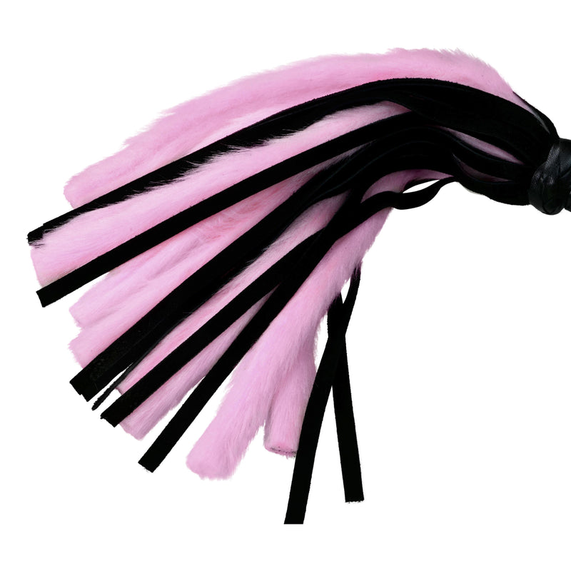 "Whip - Faux Fur and Suede Leather 30 Fall 18"" Mini Pink Flogger-FET-The Love Zone"